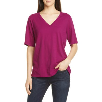 Eileen Fisher V-Neck Organic Cotton Tee, Pink