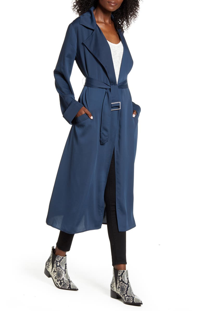 BAND OF GYPSIES Bonjour Trench Coat, Main, color, DARK TEAL