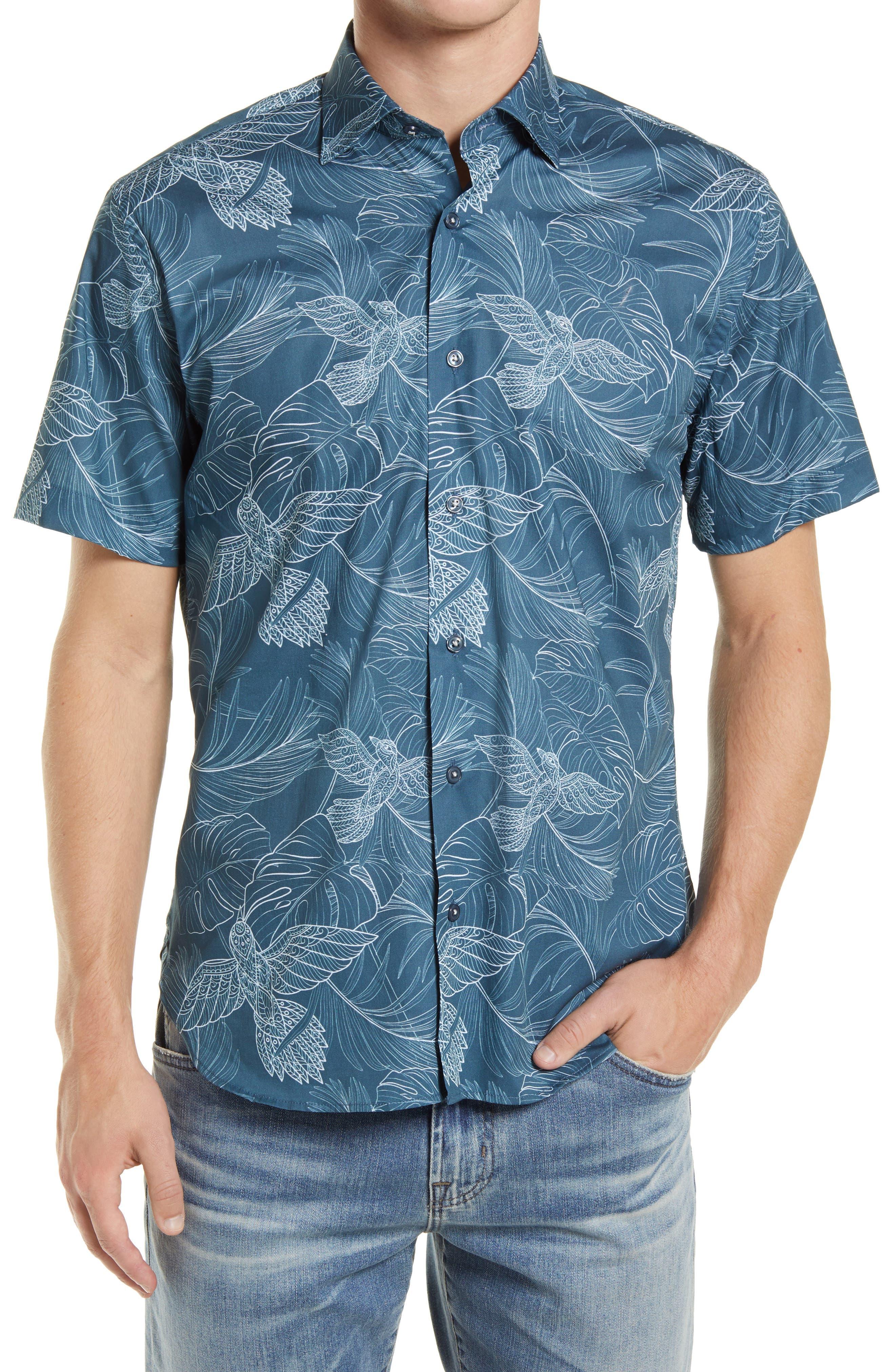 High Flying Short Sleeve Stretch Button-Up Shirt