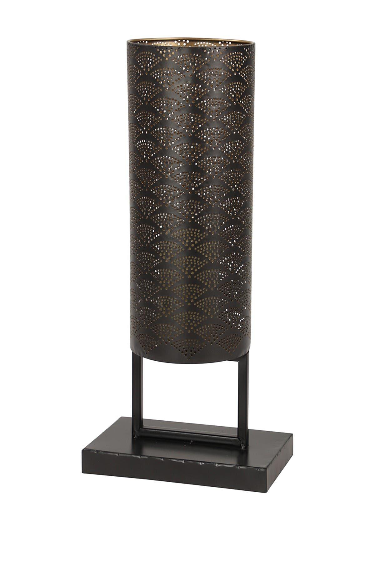Image of Willow Row Modern Style Large Black Cylinder Metal Lantern with Pierced Metal Boho Pattern on Metal Base