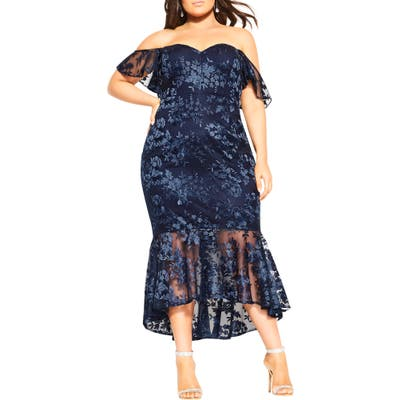 Plus Size City Chic Dress Aflutter Cocktail Dress, Blue