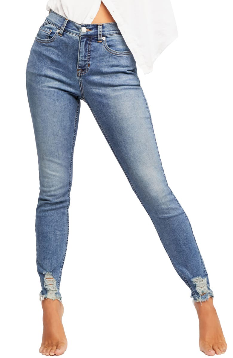 FREE PEOPLE CRVY by Free People Skinny Jeans, Main, color, BLUE