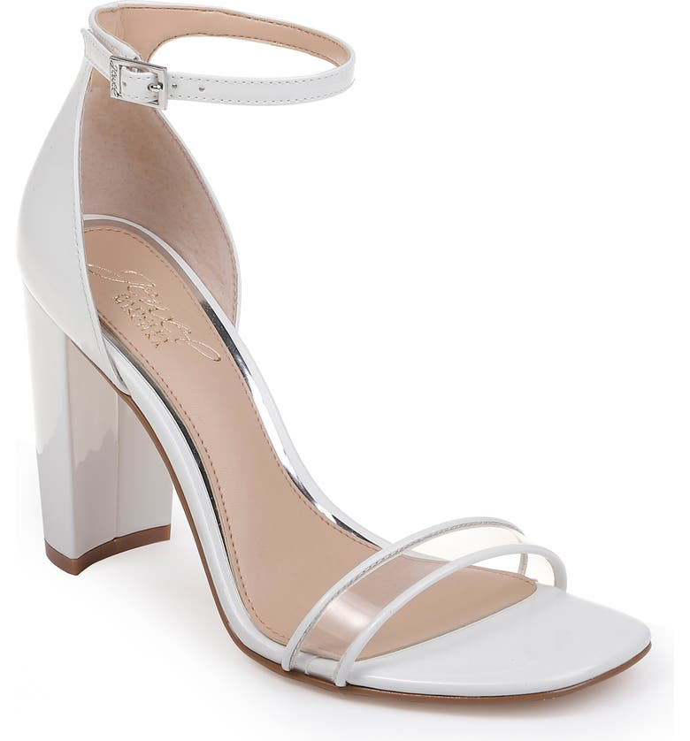 JEWEL BADGLEY MISCHKA Keshia II Clear Ankle Strap Sandal, Main, color, WHITE FAUX PATENT LEATHER