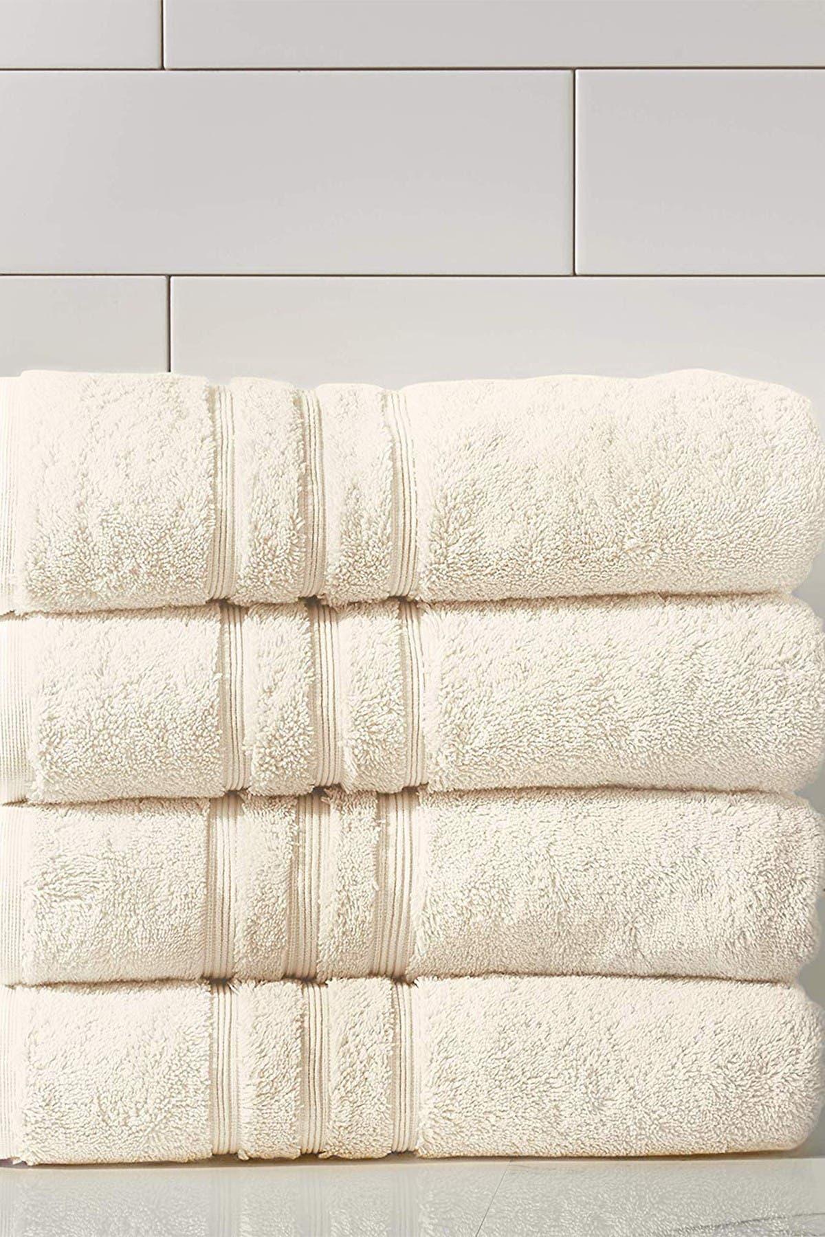 Image of Modern Threads Manor Ridge Turkish Cotton 700 GSM Bath Towel - Set of 4 - Ivory