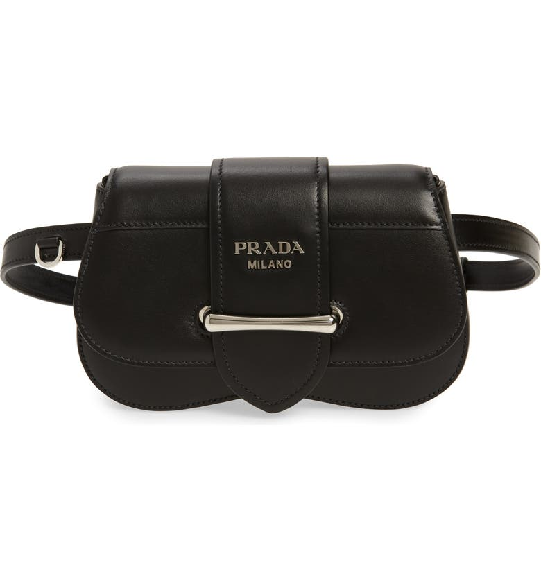 PRADA Convertible Calfskin Leather Belt Bag, Main, color, NERO