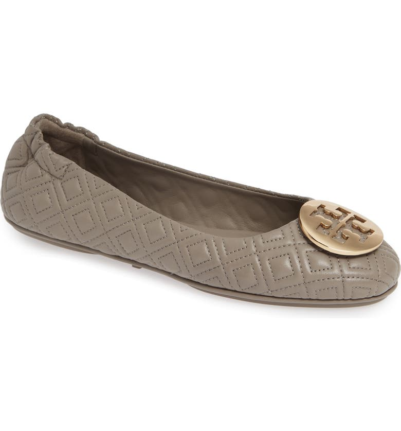 TORY BURCH 'Minnie' Ballet Flat, Main, color, DUST STORM/ GOLD