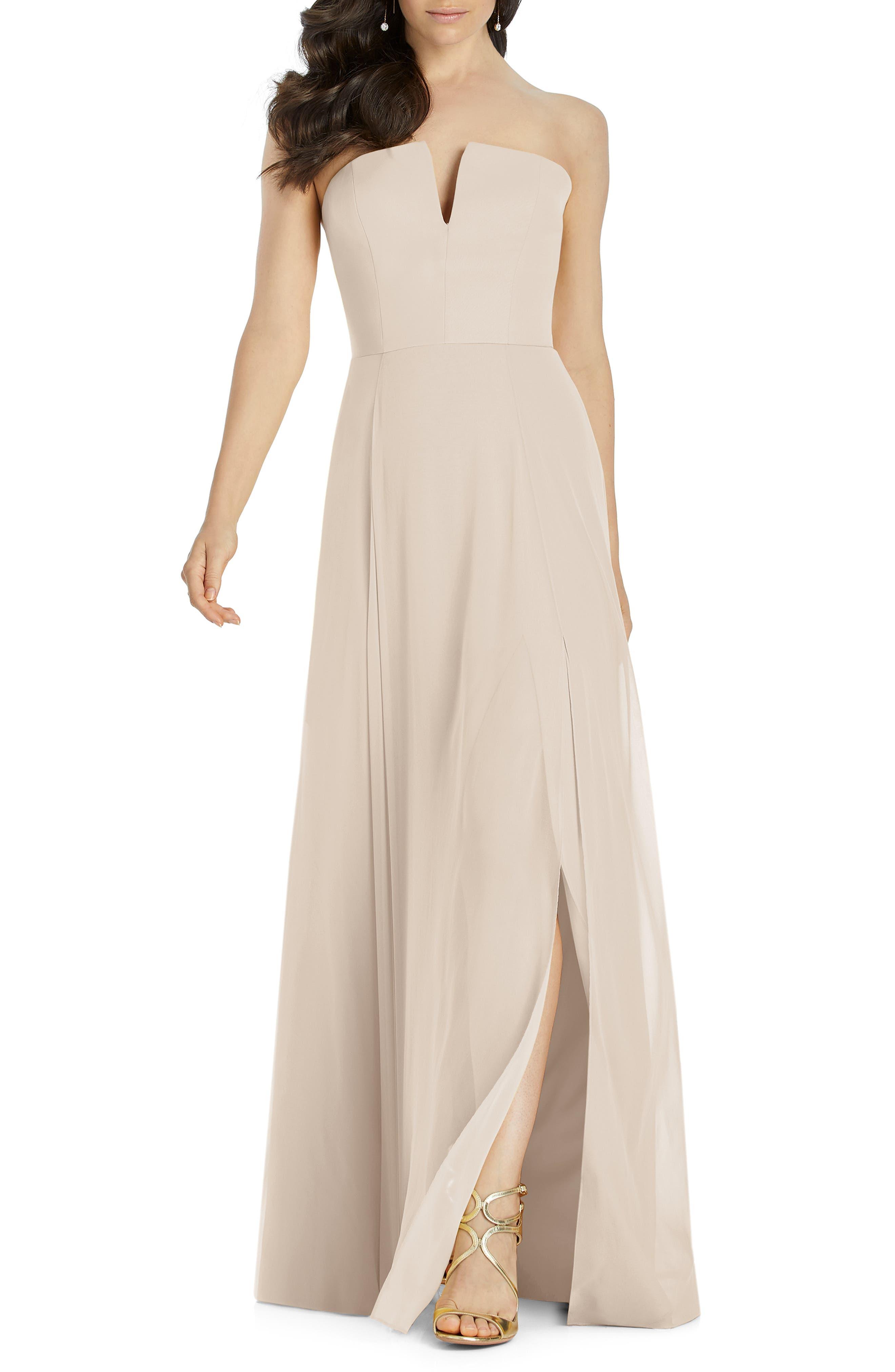 Dessy Collection Strapless Chiffon Evening Dress, Beige