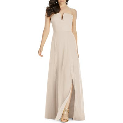 Dessy Collection Strapless Chiffon Evening Dress, Beige