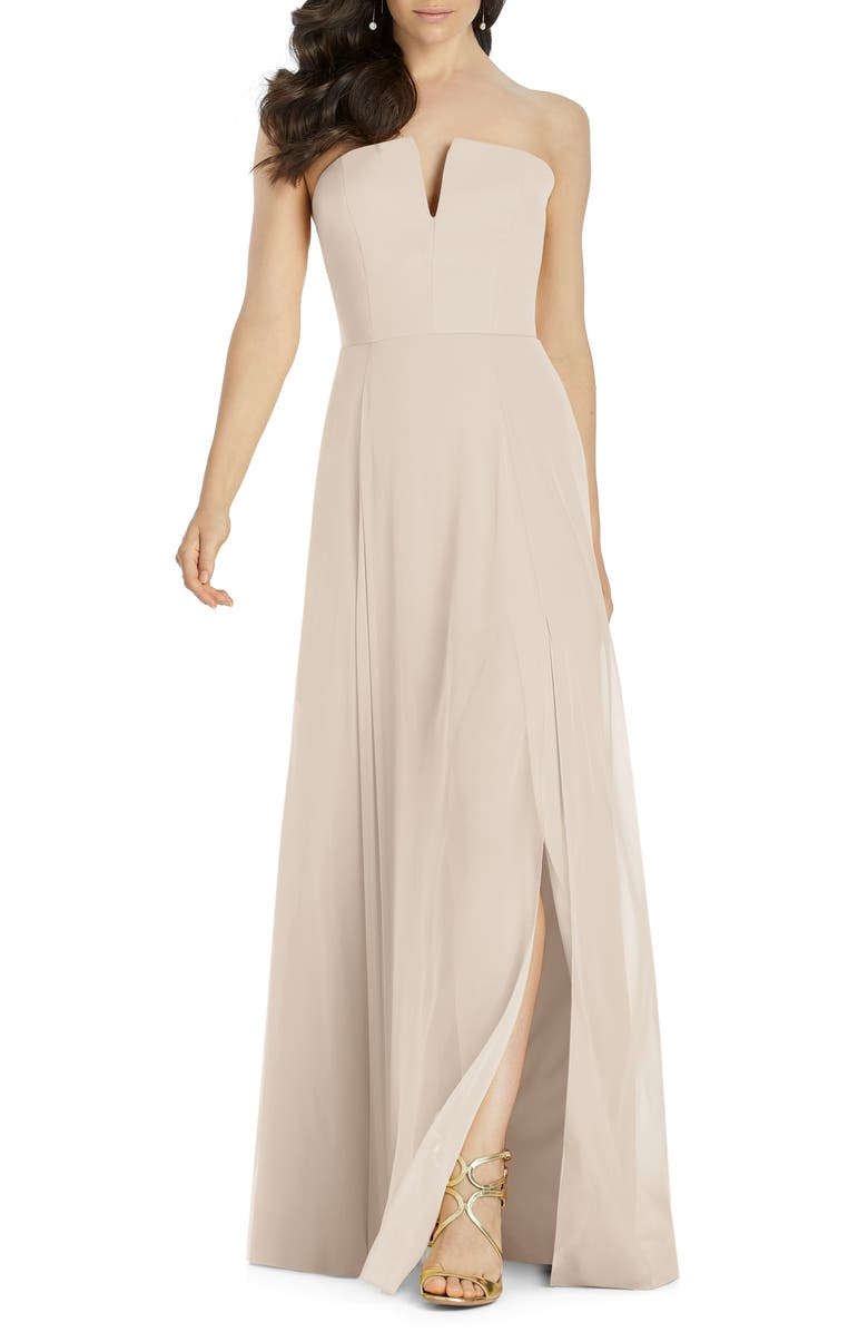 DESSY COLLECTION Strapless Chiffon Evening Dress, Main, color, CAMEO