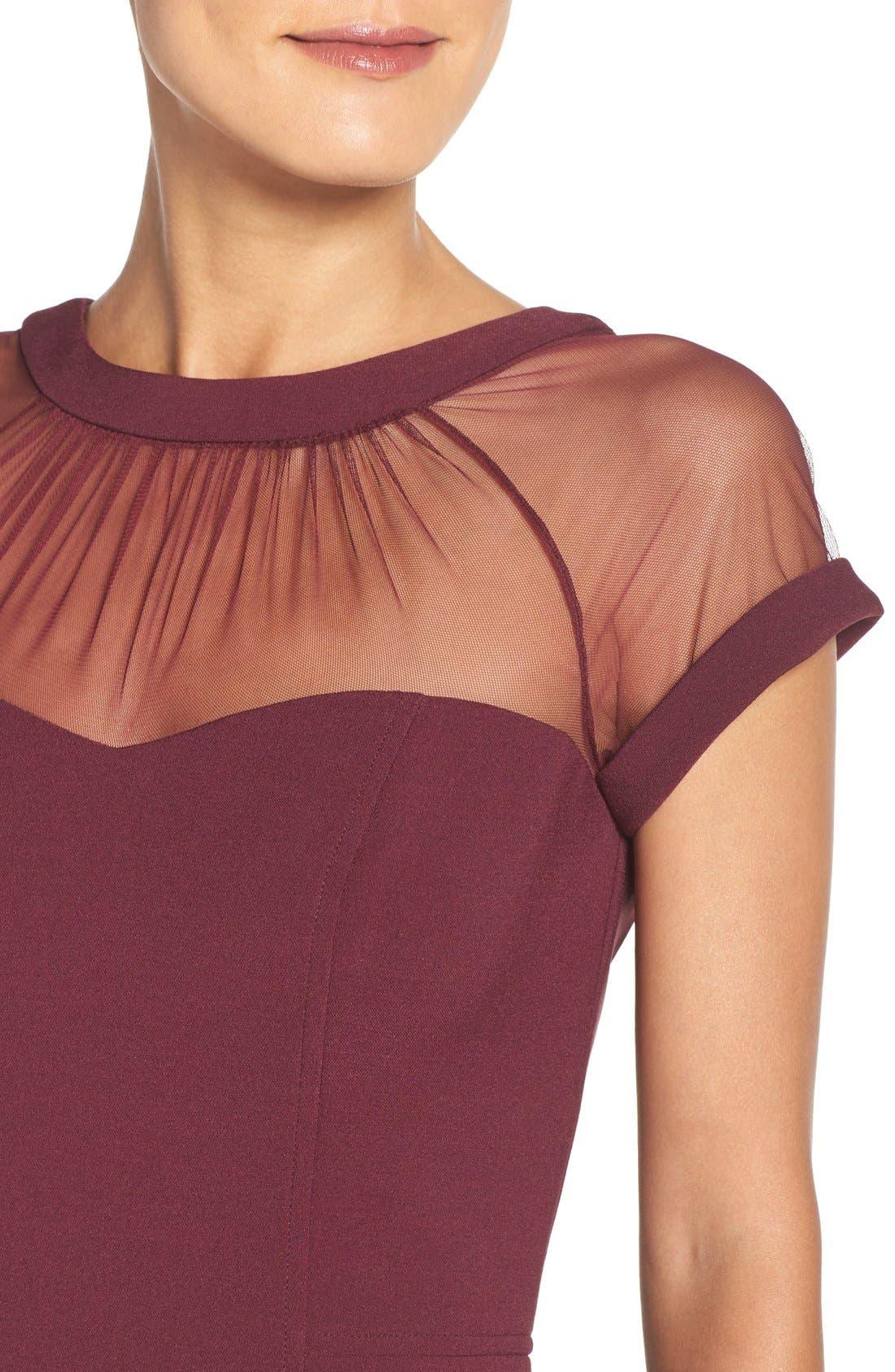 ,                             Illusion Yoke Crepe Sheath Dress,                             Alternate thumbnail 47, color,                             936