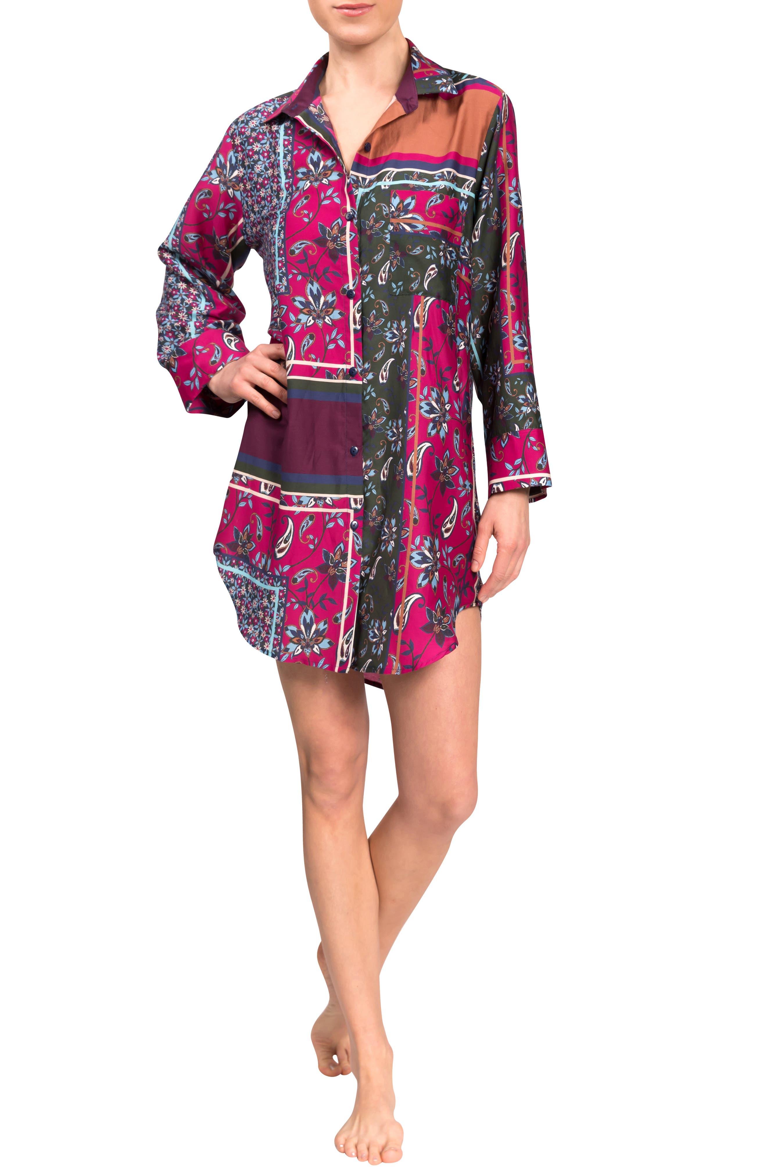 Rick Floral Cotton & Silk Blend Sleep Shirt