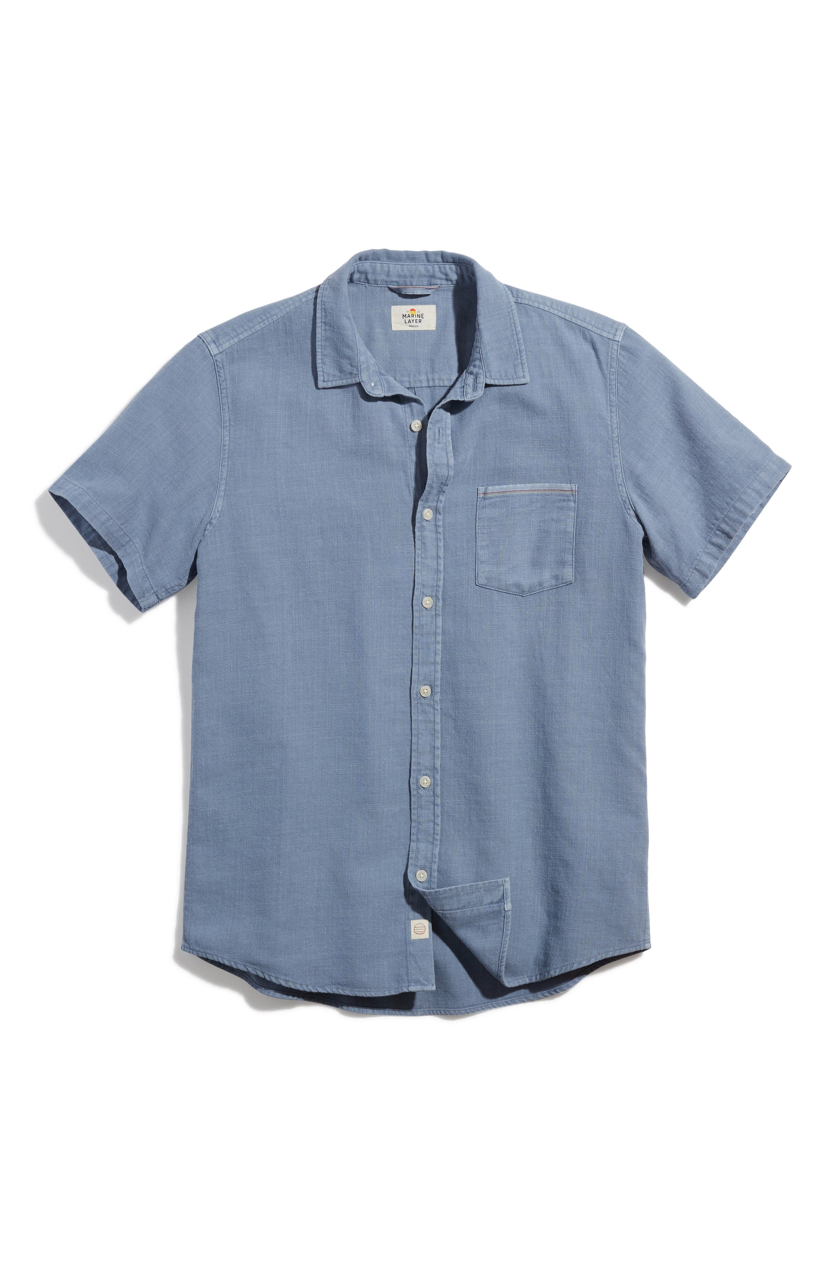 Classic Fit Selvage Short Sleeve Button-Up Shirt