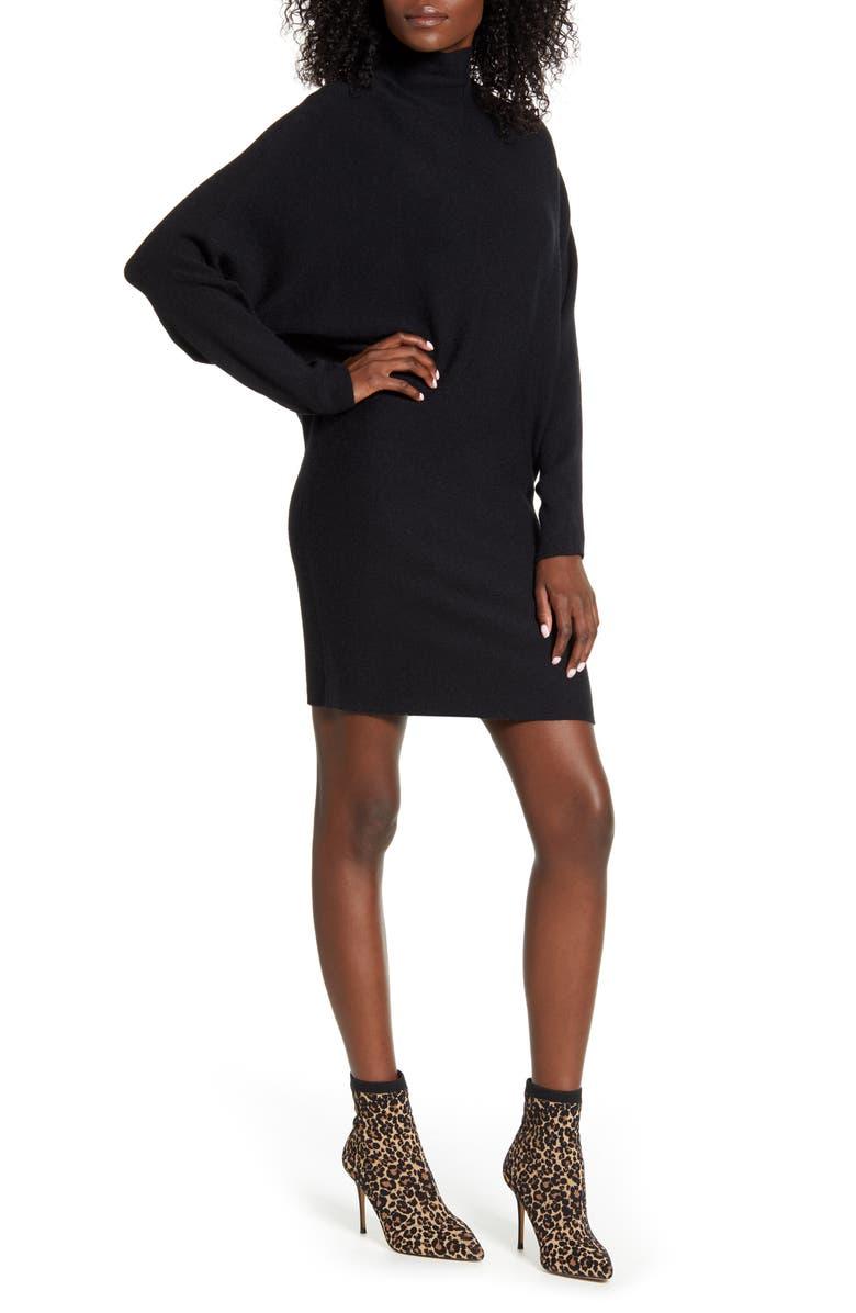 LEITH Long Sleeve Turtleneck Sweater Minidress, Main, color, 001