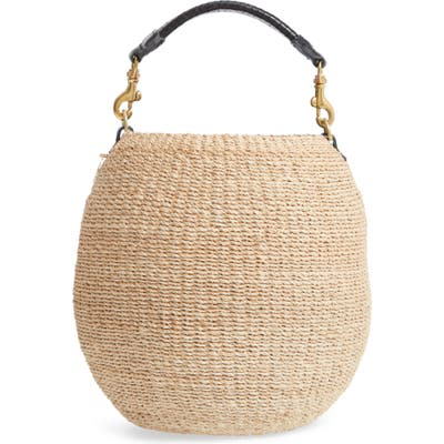 Clare V. Pot De Miel Top Handle Straw Basket Bag - Beige
