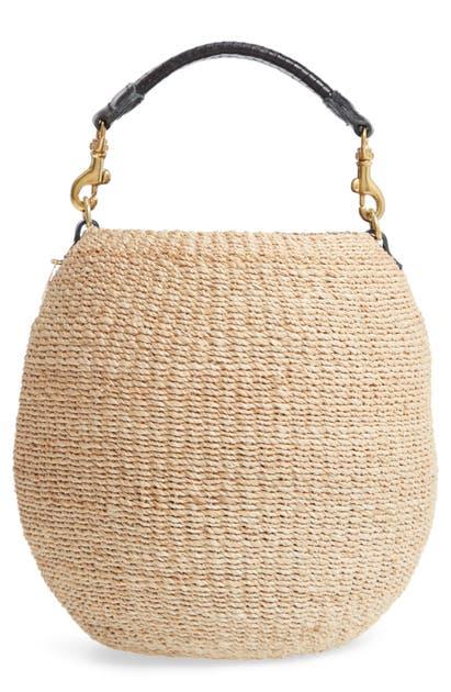 Clare V Bags POT DE MIEL TOP HANDLE STRAW BASKET BAG - BEIGE