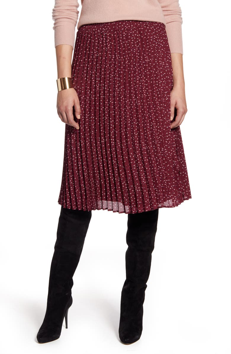 HALOGEN<SUP>®</SUP> Pleated Skirt, Main, color, BURGUNDY FLORAL DOT