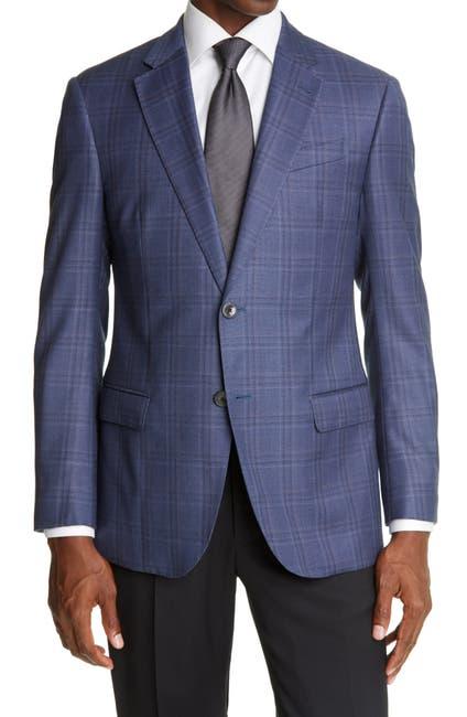Image of Emporio Armani Slim Fit Plaid Wool Sport Coat