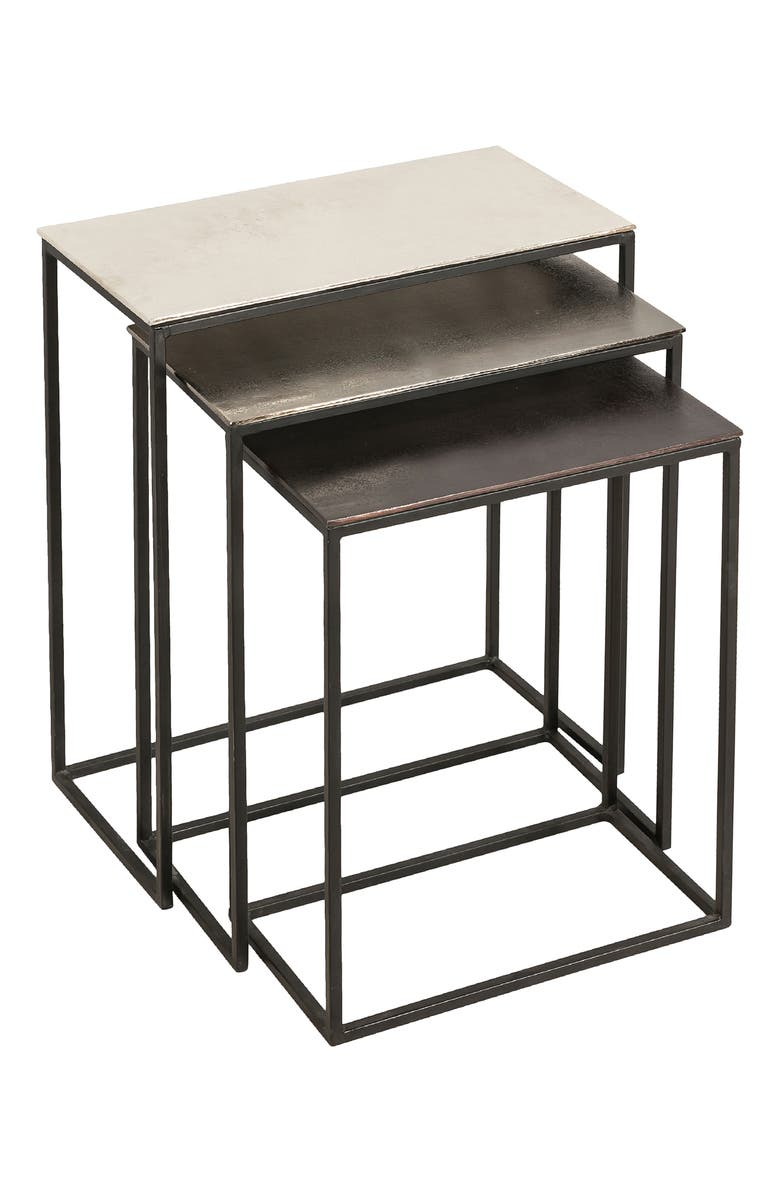 RENWIL Manisa Set of 3 Metallic Nesting Tables, Main, color, RAW NICKEL BLACK BRONZE