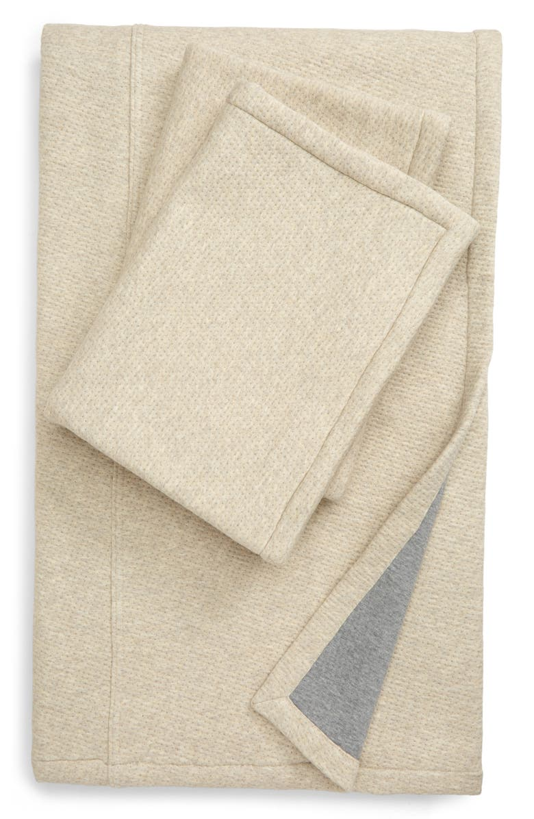 NORDSTROM Two-Tone Cozy Knit Quilt & Sham Set, Main, color, GREY MOONBEAM HEATHER