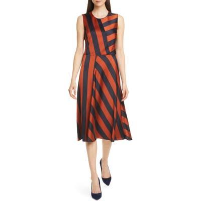 Boss Dalta Stripe Satin Dress, Orange