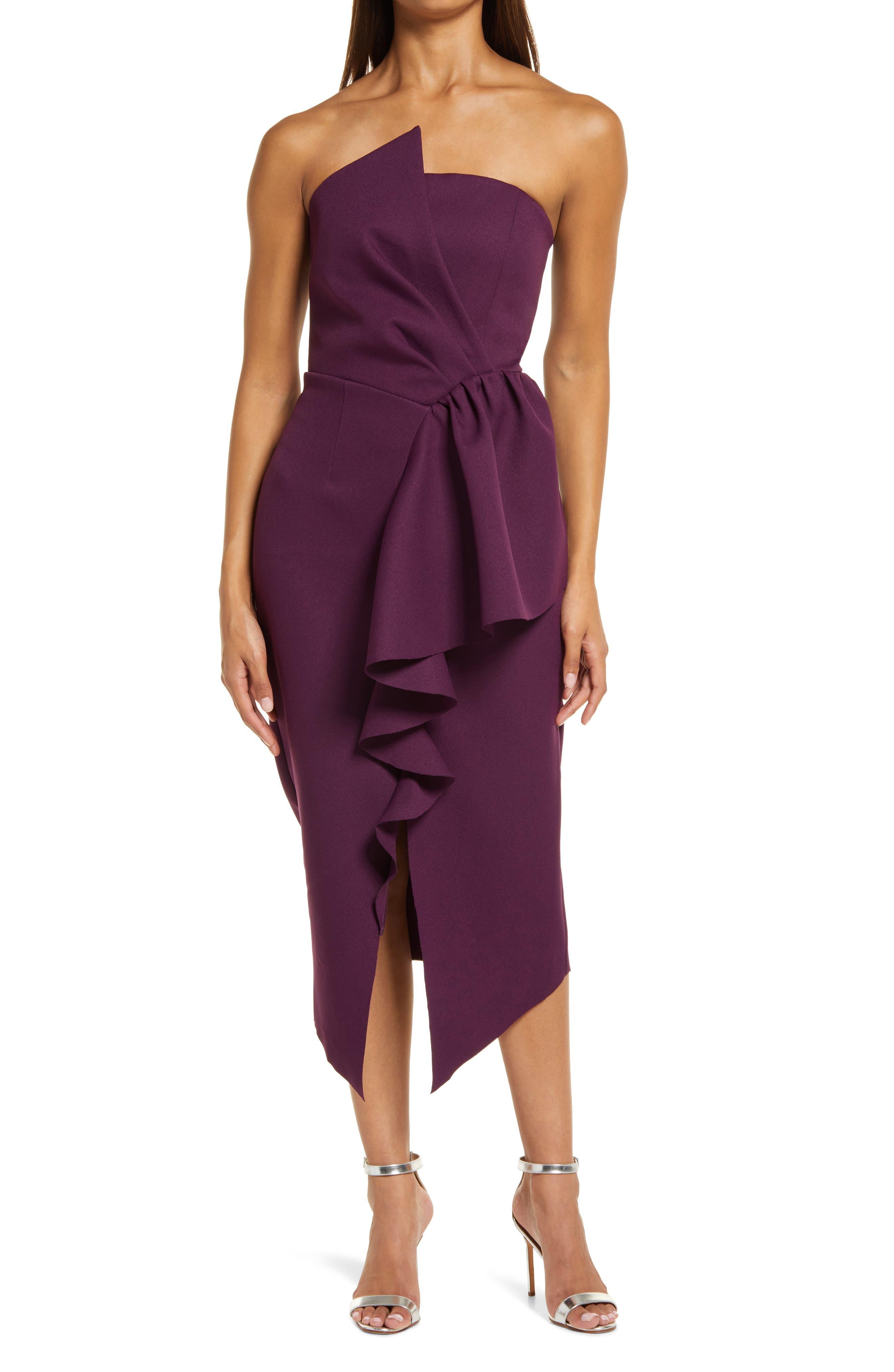 Reception Cascade Ruffle Strapless Cocktail Dress