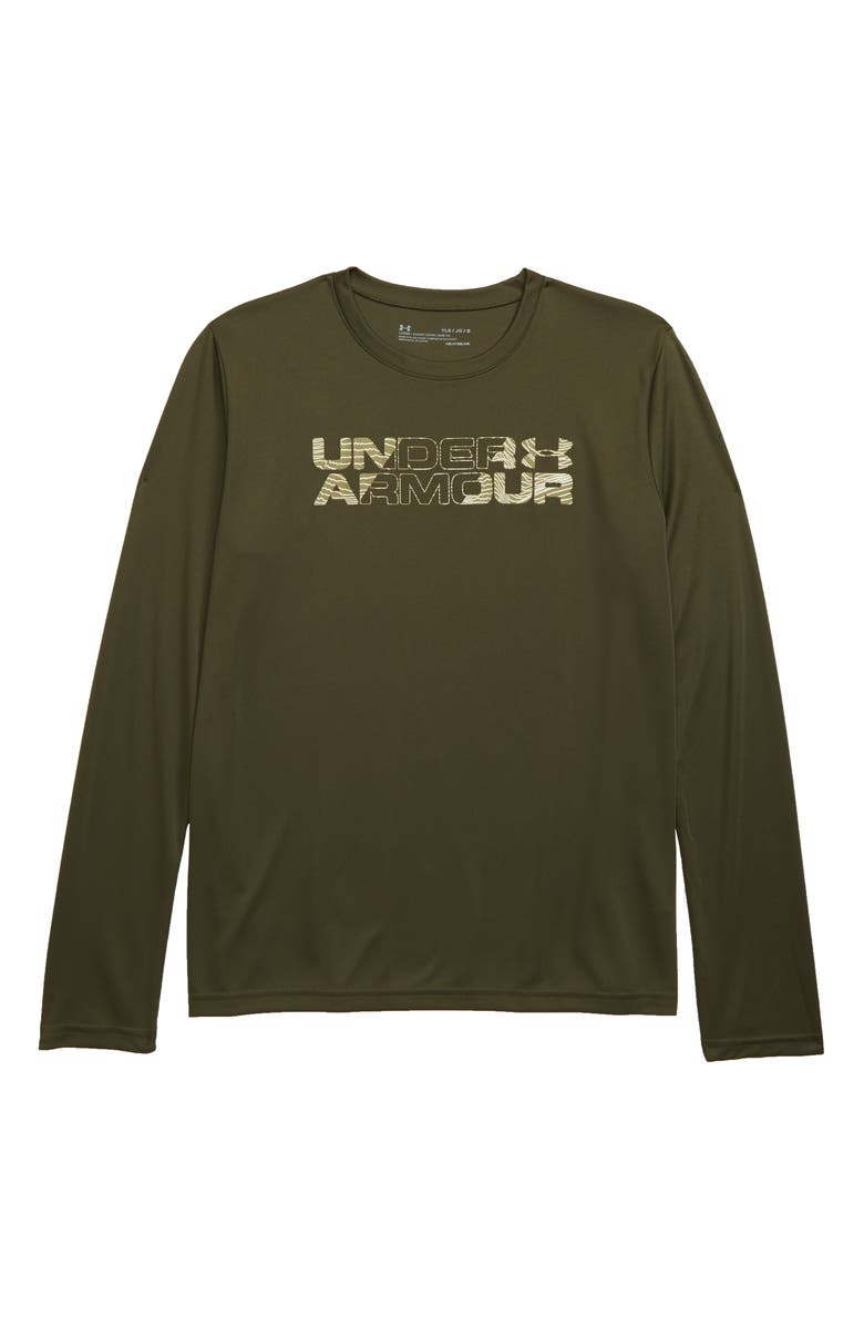 UNDER ARMOUR Big Logo HeatGear<sup>®</sup> T-Shirt, Main, color, GUARDIAN GREEN/ OUTPOST GREEN