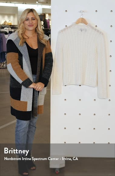 Mock Neck Cable Knit Cashmere Sweater, sales video thumbnail
