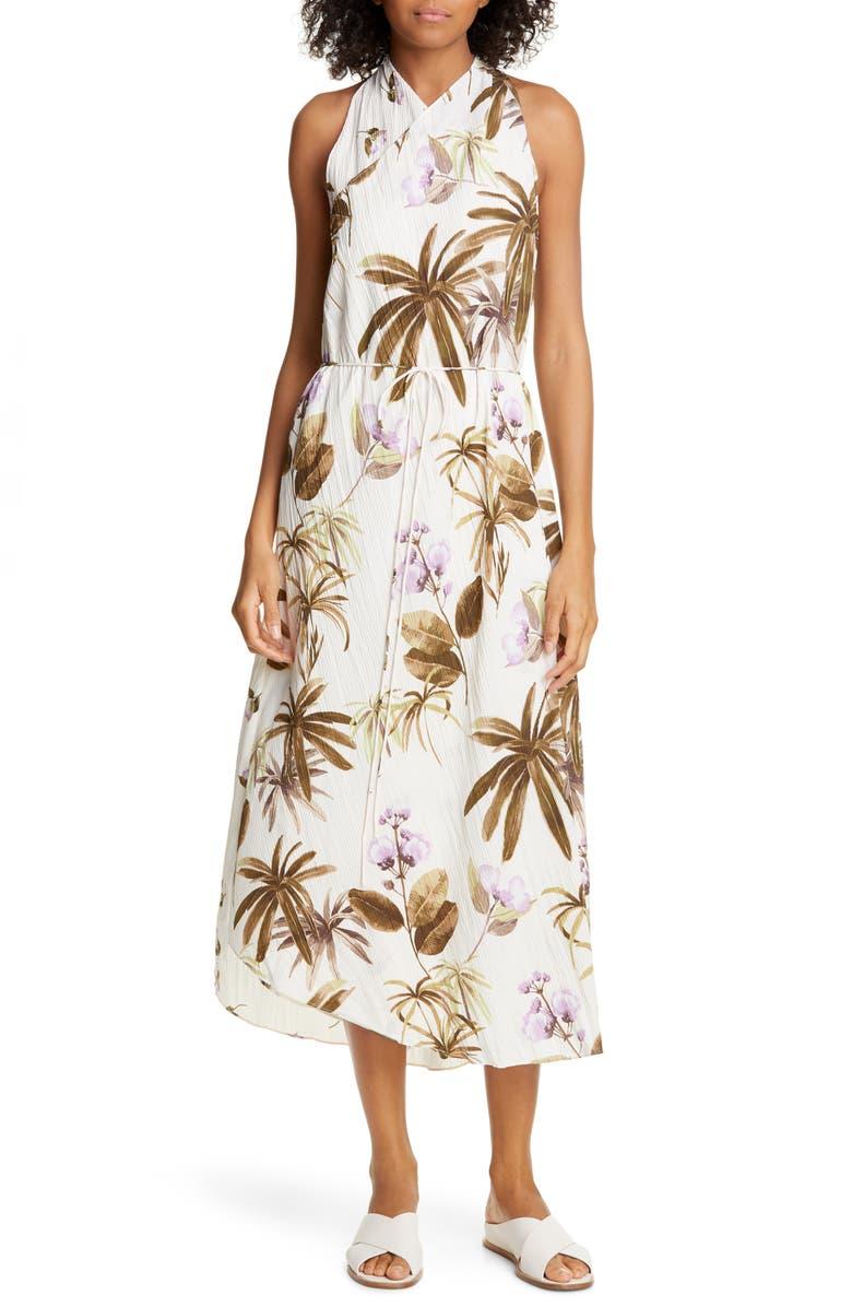VINCE Mixed Tropical Garden Asymmetrical Hem Midi Dress, Main, color, PALE ALDER