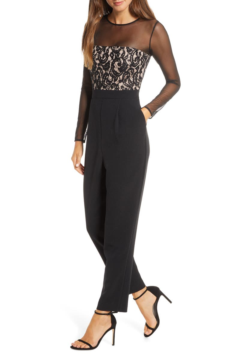 VINCE CAMUTO Long Sleeve Jumpsuit, Main, color, 001