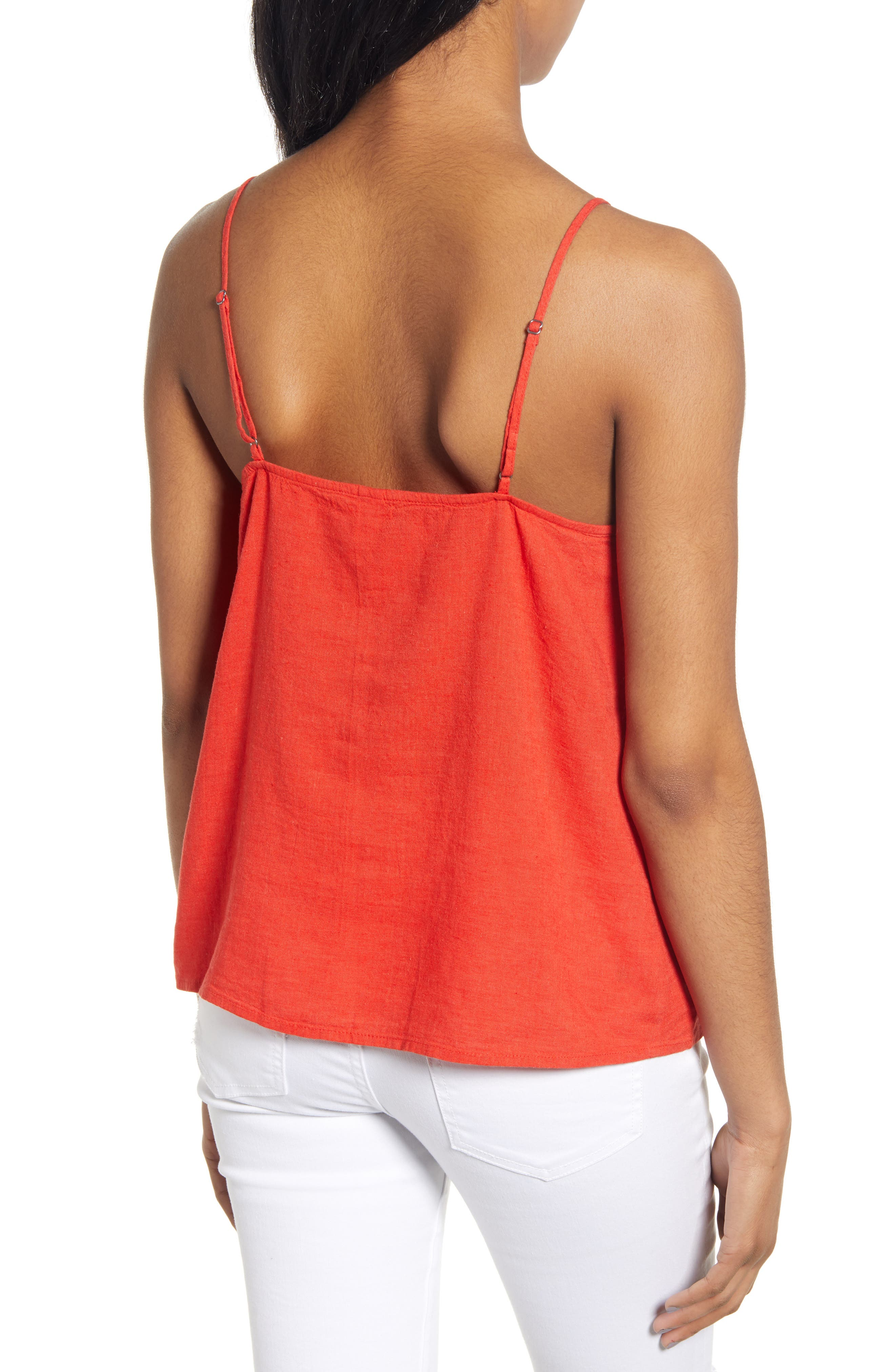 ,                             Linen Blend Camisole Top,                             Alternate thumbnail 2, color,                             RED FIERY CD