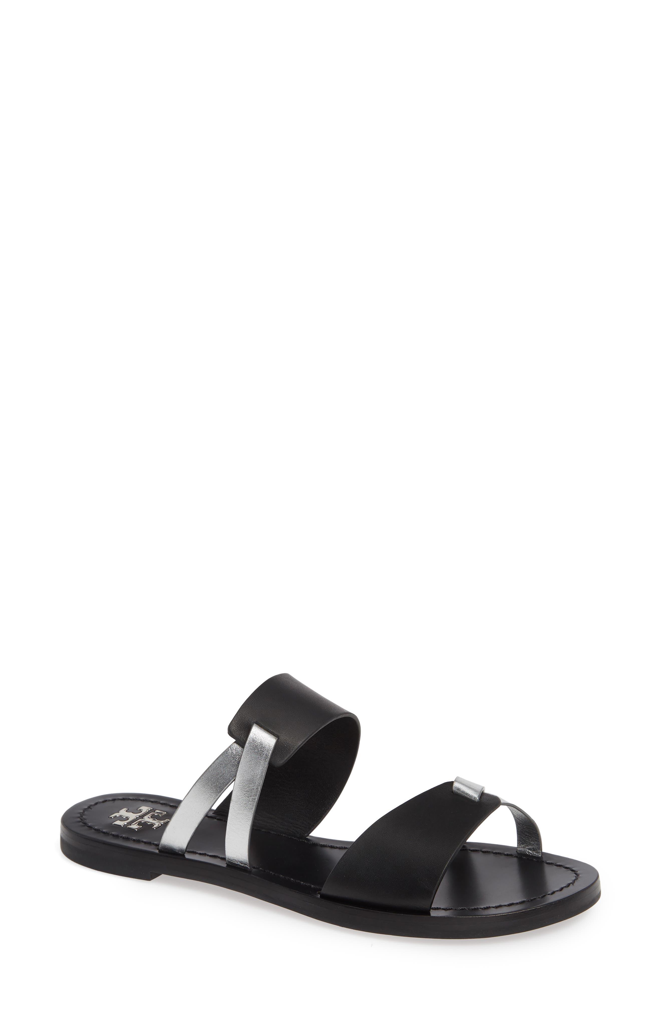 Tory Burch Ravello Double Band Slide Sandal, Metallic