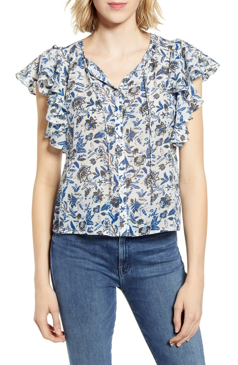 LUCKY BRAND Printed Flutter Sleeve Top, Main, color, 400