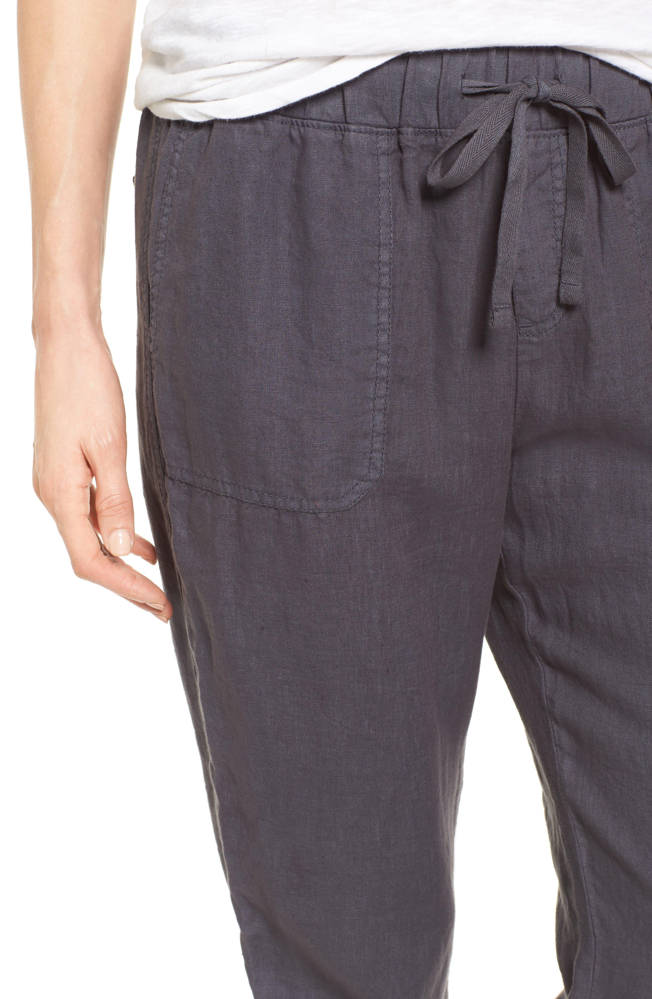 ,                             Linen Jogger Pants,                             Alternate thumbnail 5, color,                             GREY EBONY