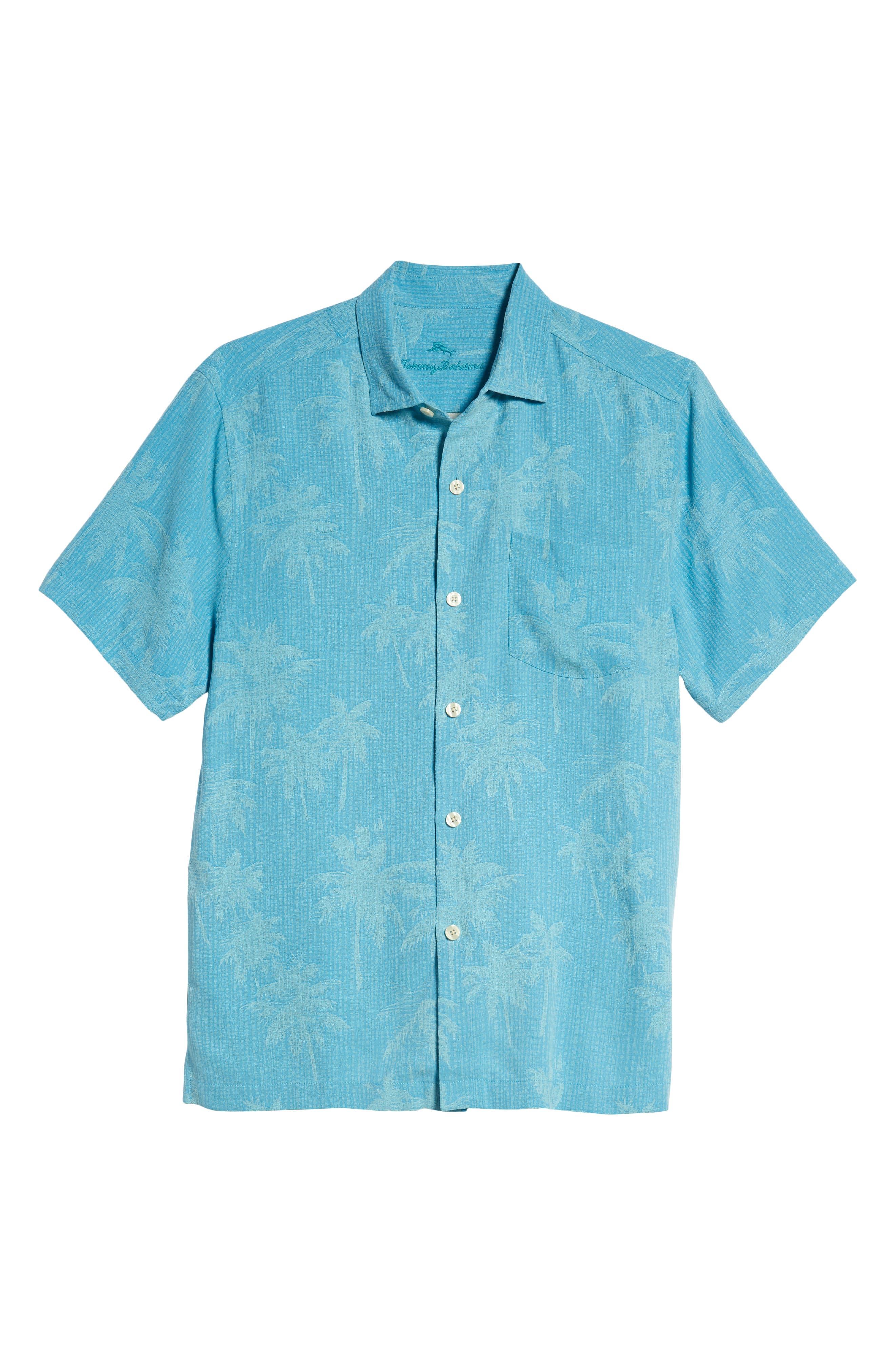 ,                             Digital Palms  Classic Fit Silk Sport Shirt,                             Alternate thumbnail 5, color,                             MAUI BLUE
