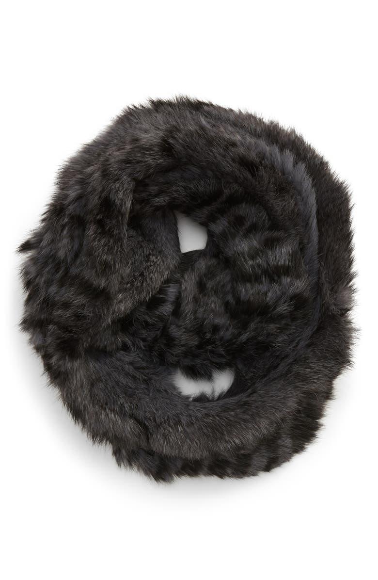 JOCELYN Genuine Rabbit Fur Infinity Scarf, Main, color, GREY/ BLACK