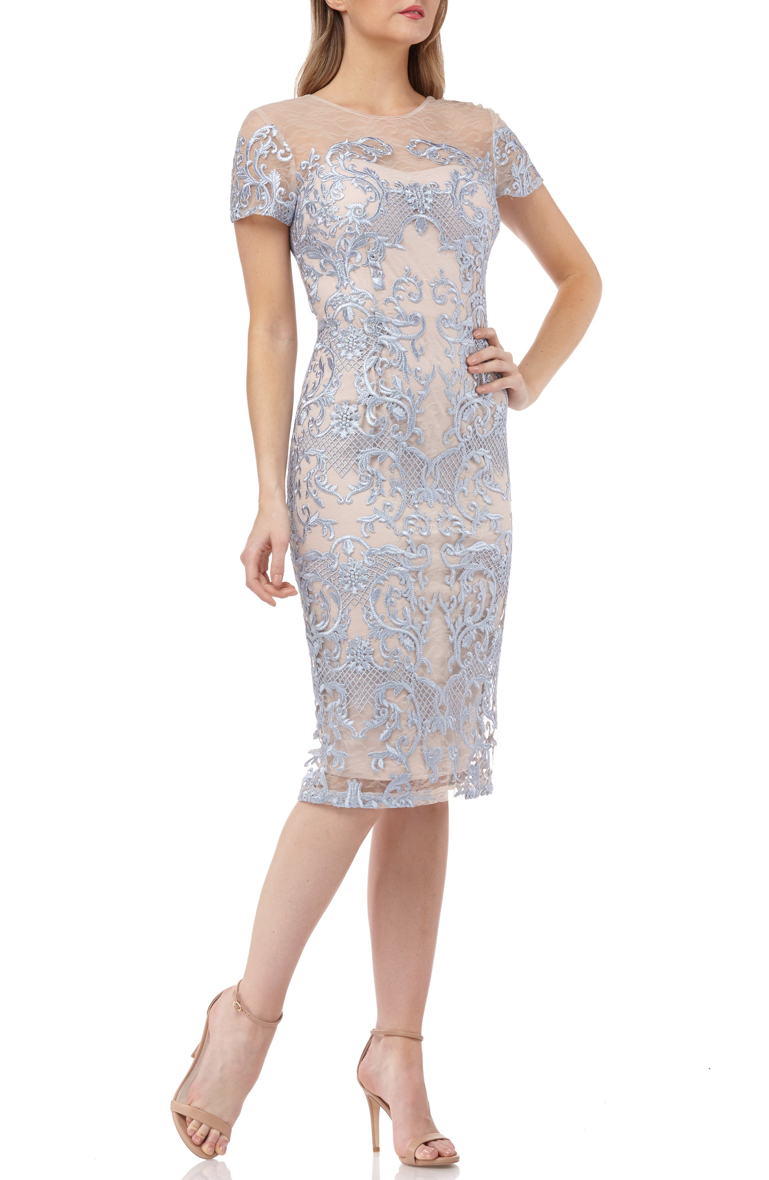 Js Collections Embroidered Mesh Sheath Dress, Blue