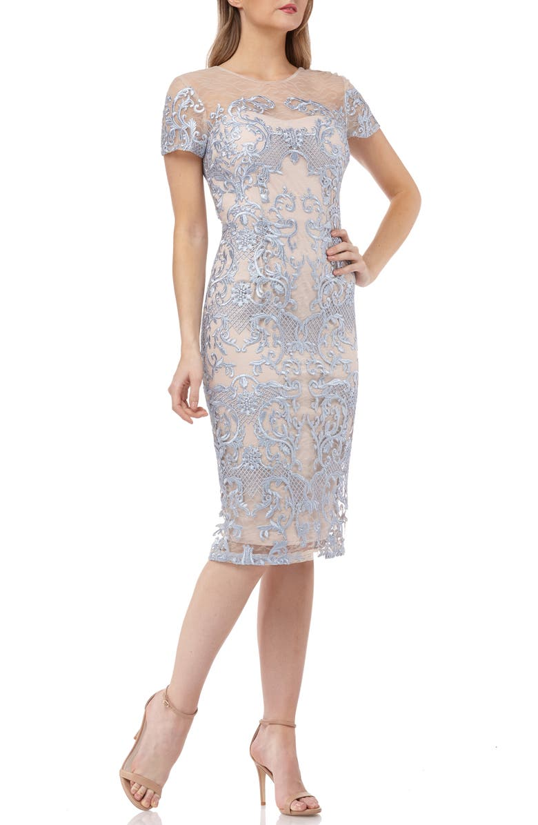 JS COLLECTIONS Embroidered Mesh Sheath Dress, Main, color, 400