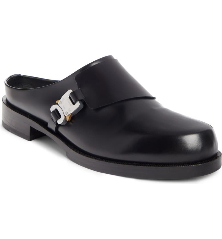 1017 ALYX 9SM Buckle Leather Mule, Main, color, BLACK