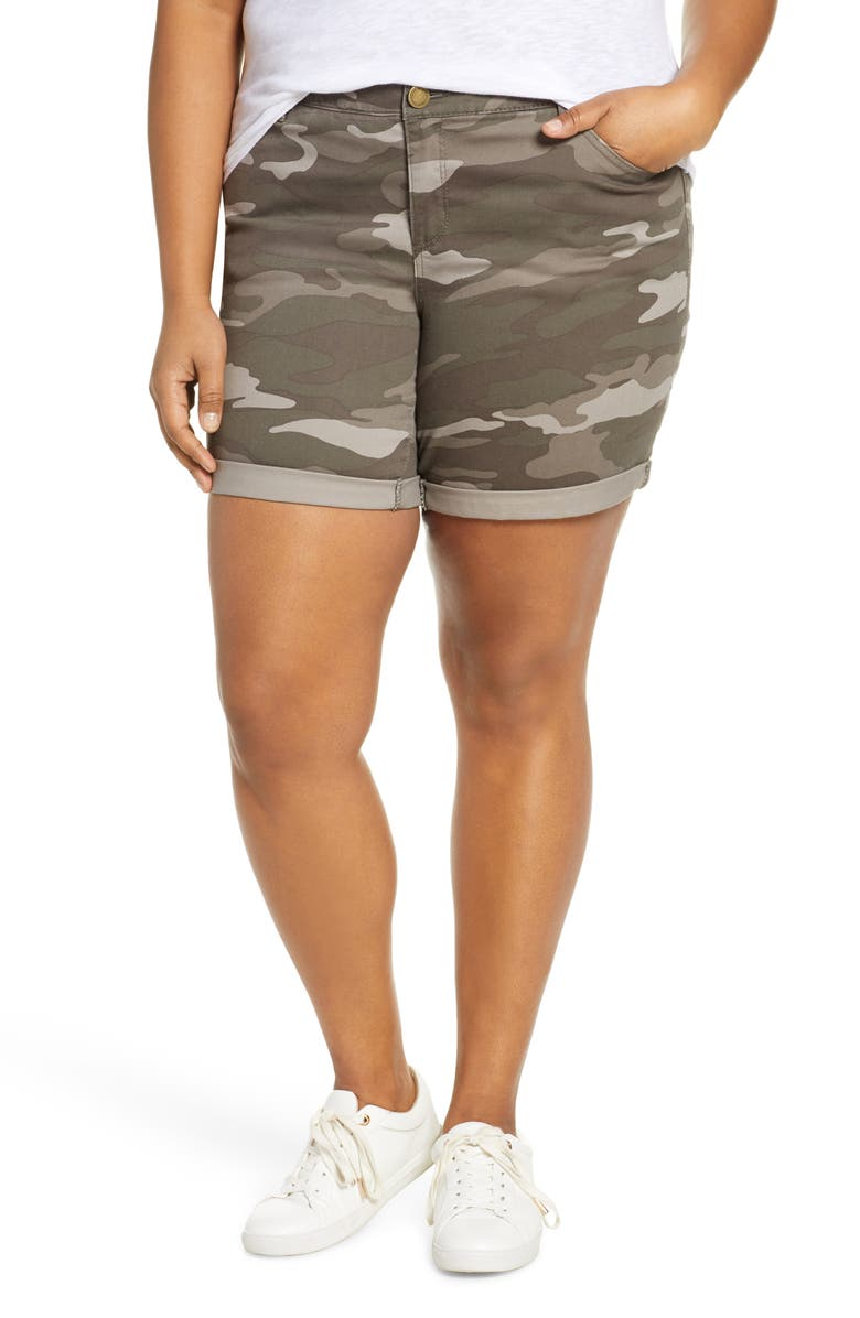 WIT & WISDOM Ab-Solution Camo Twill Shorts, Main, color, MUSHROOM