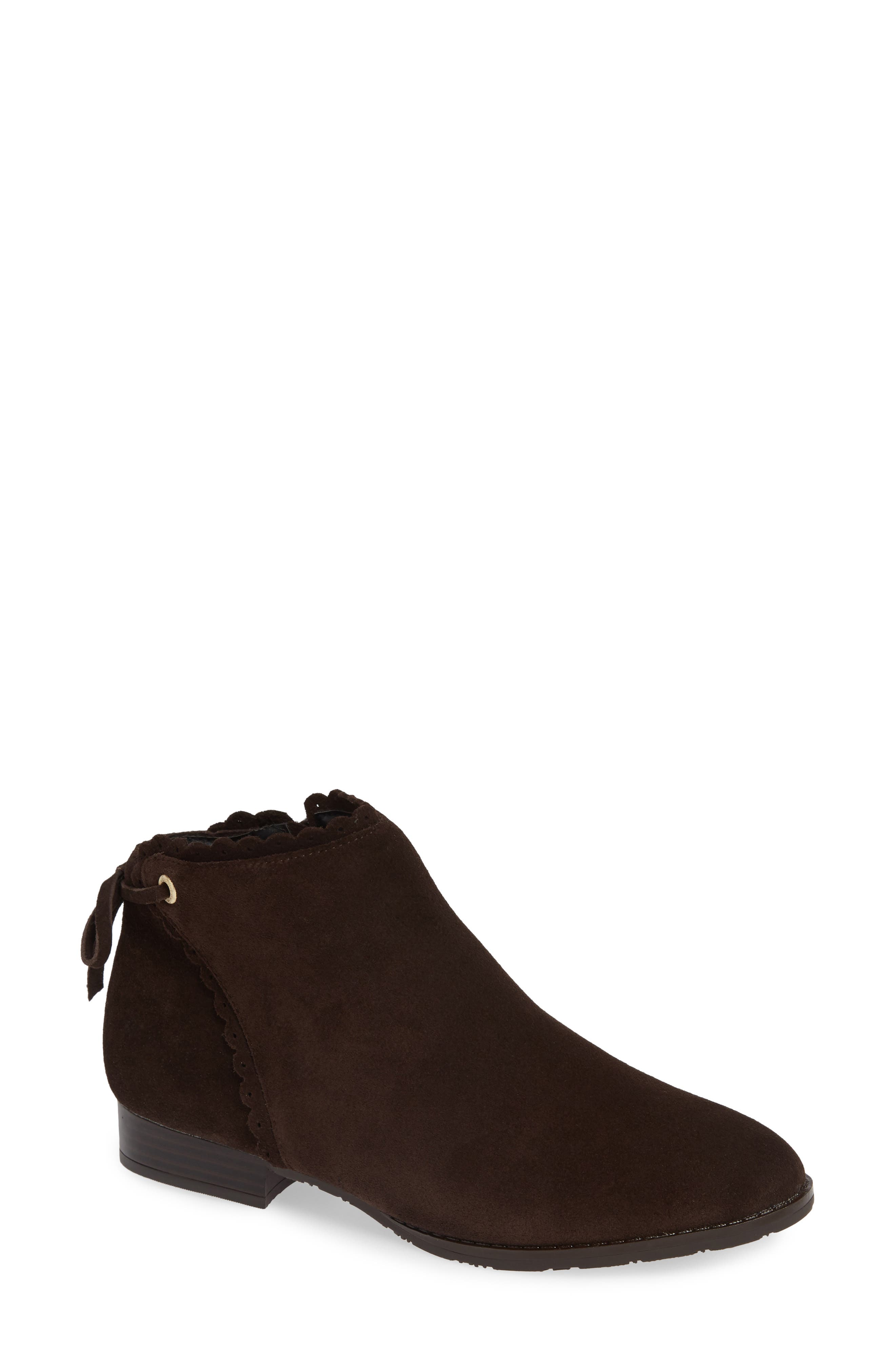 Jack Rogers Scalloped Ankle Bootie- Brown