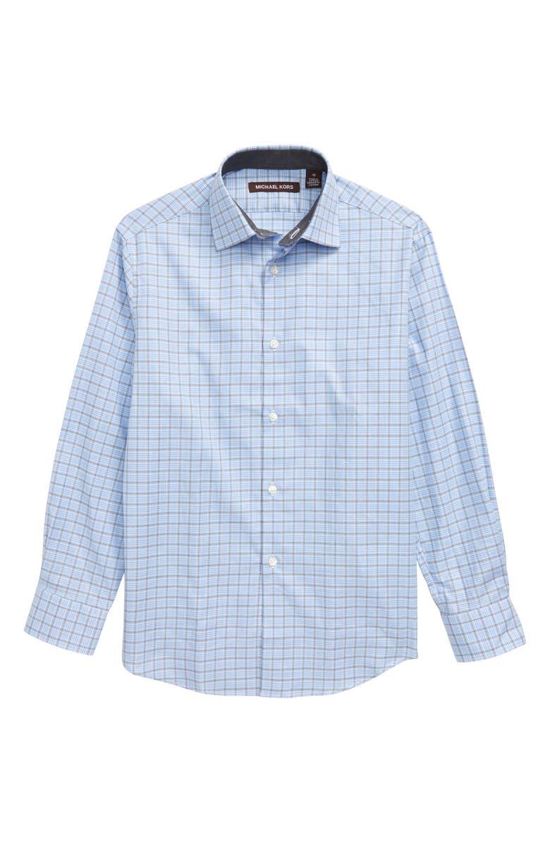 MICHAEL KORS Plaid Button-Up Dress Shirt, Main, color, BLUE/ OLIVE PLAID