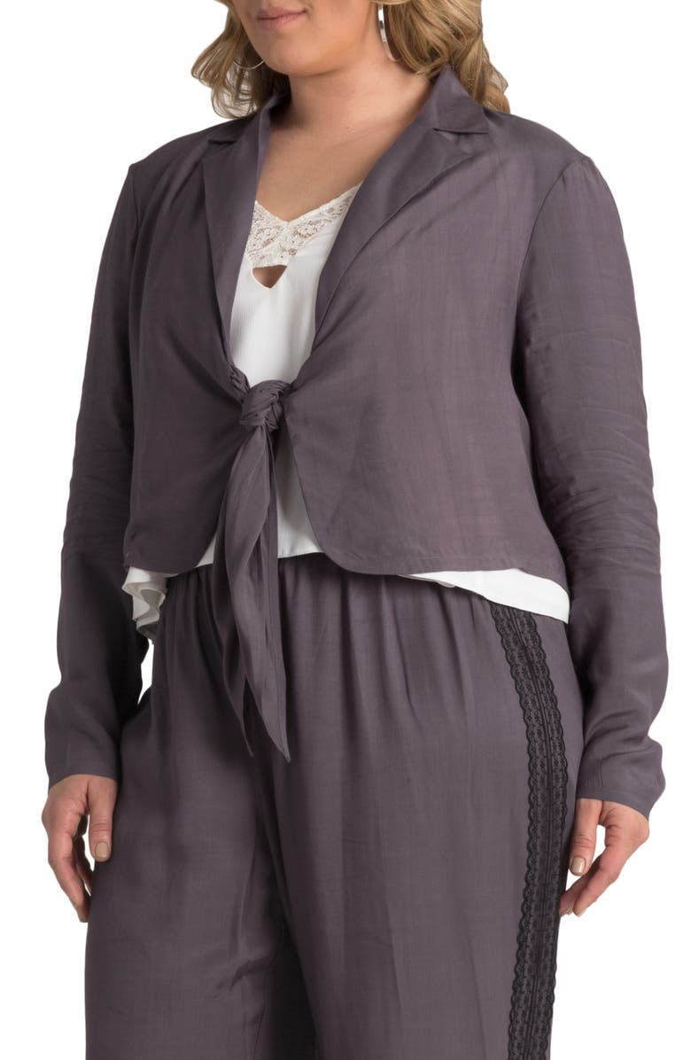 STANDARDS & PRACTICES Tie Front Jacket, Main, color, LIGHT PURPLE