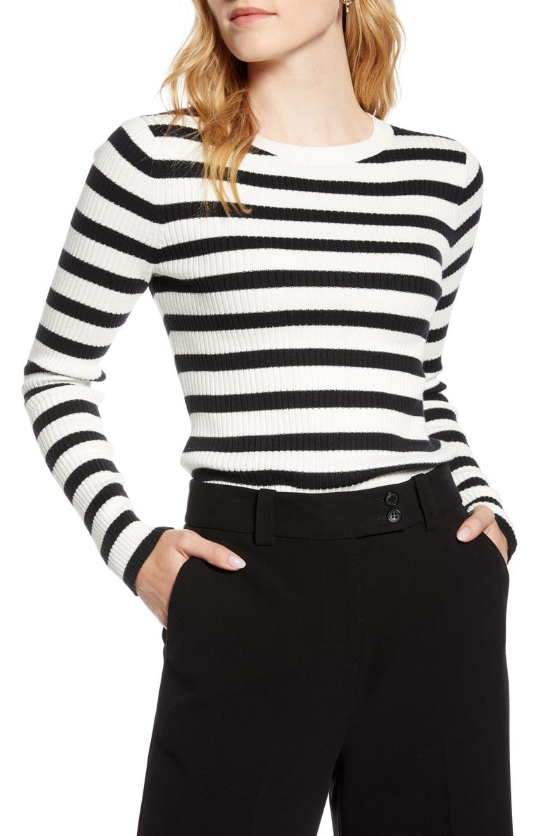 1901 Ribbed Sweater, Main, color, IVORY- BLACK STRIPE