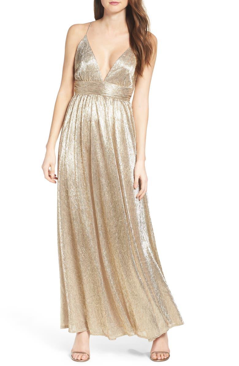 LULUS Metallic Maxi Dress, Main, color, 710