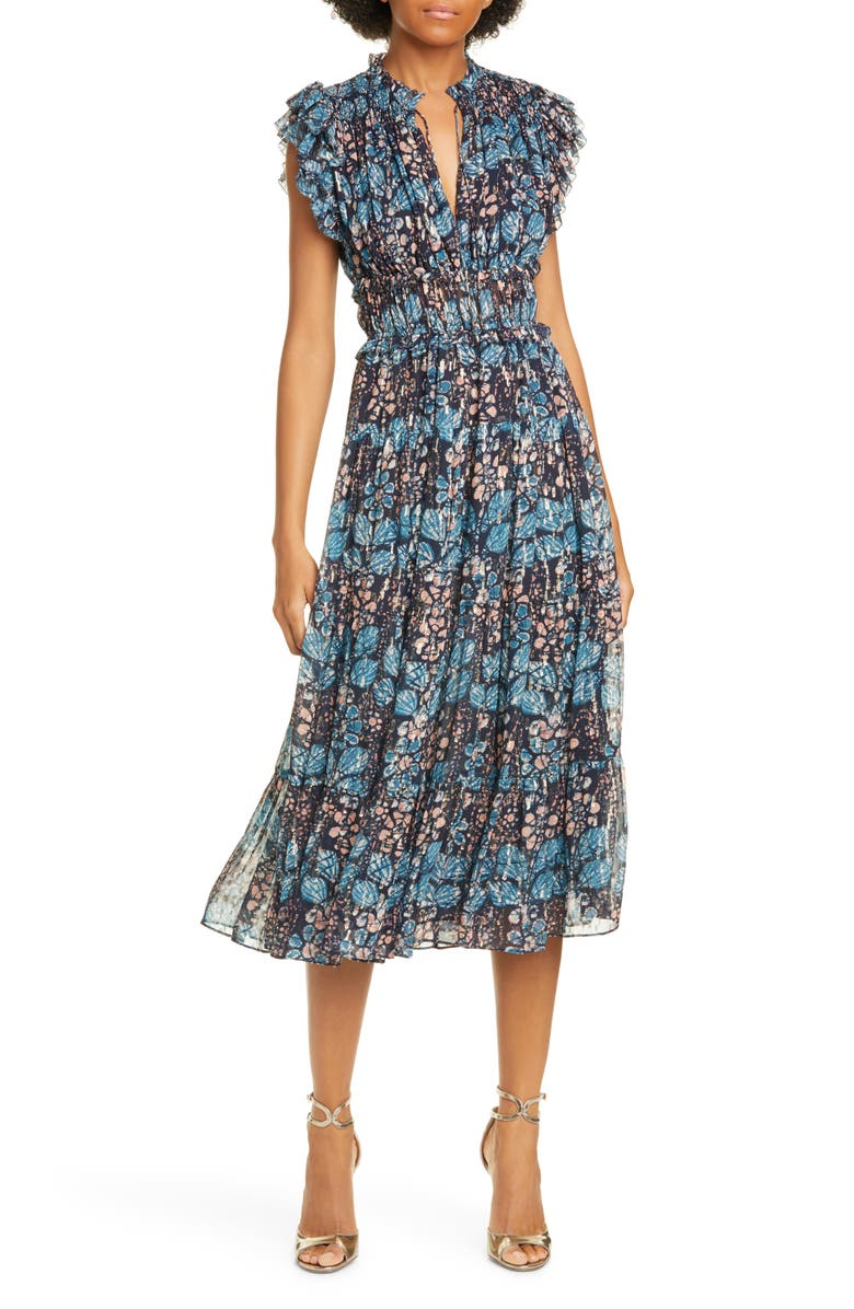 ULLA JOHNSON Renata Silk Blend Peasant Dress, Main, color, INDIGO