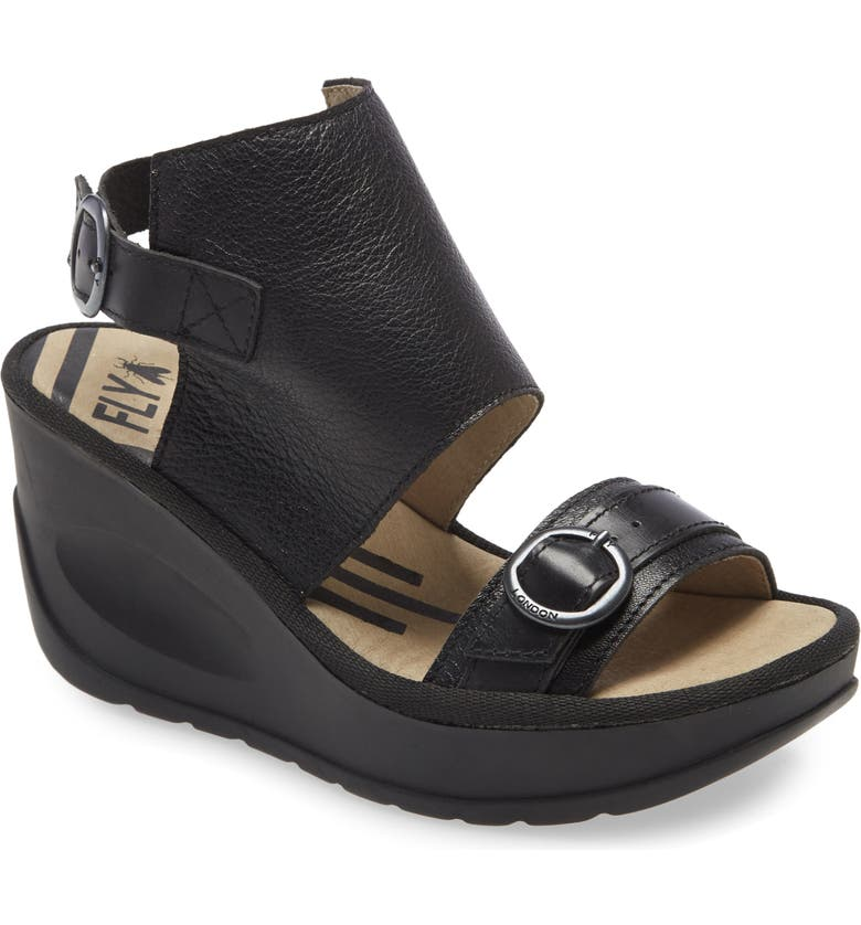 FLY LONDON Jeno Wedge Sandal, Main, color, 001