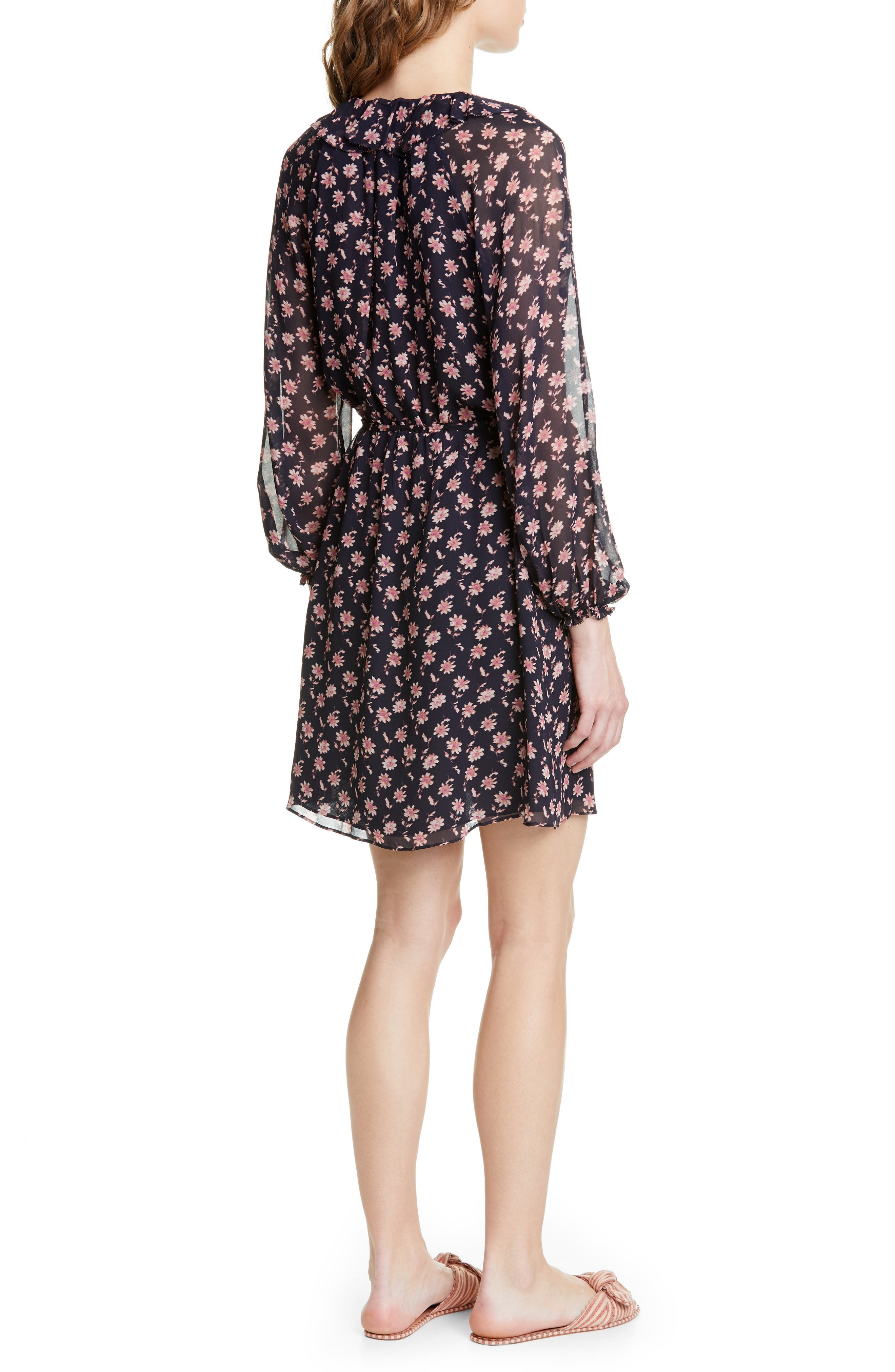 ,                             Marelle Ruffle Neck Long Sleeve Silk Dress,                             Alternate thumbnail 2, color,                             MIDNIGHT