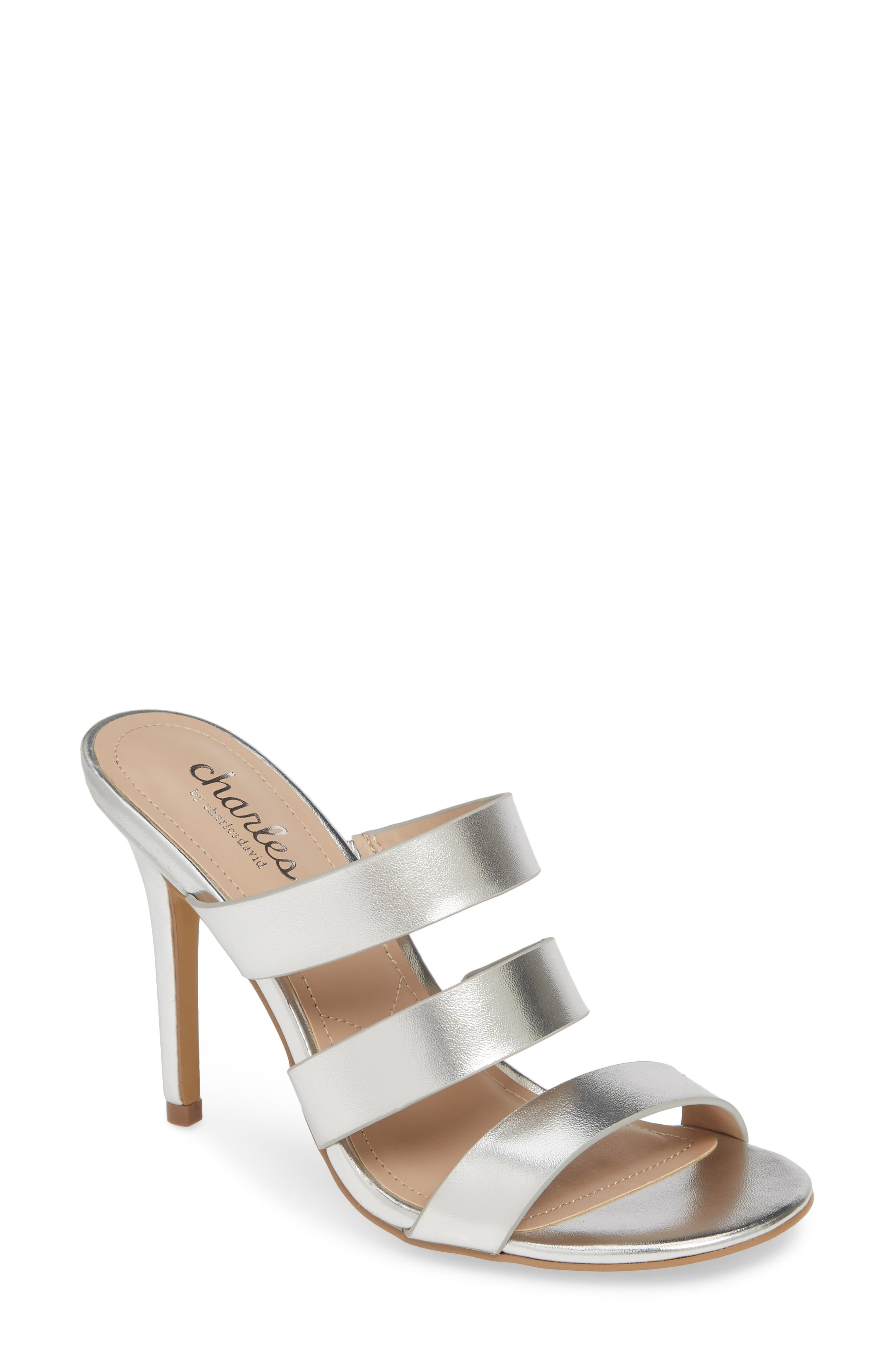 Rivalary Slide Sandal, Main, color, SILVER FAUX LEATHER