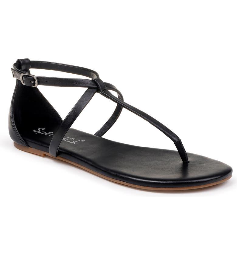 SPLENDID Sundae T-Strap Sandal, Main, color, BLACK LEATHER