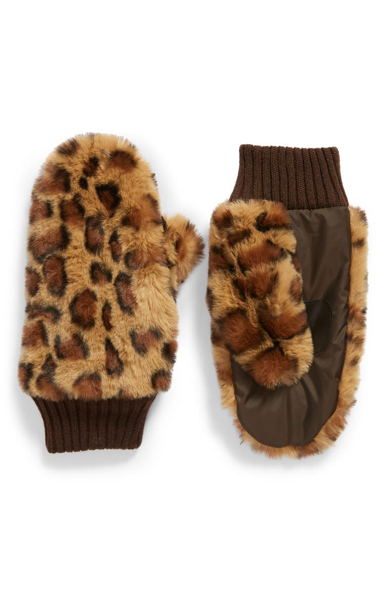 ECHO Faux Fur Mittens, Main, color, 200